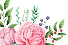 Χρωματισμένη χέρι Floral ανθοδέσμη watercolor που απομονώνεται στο άσπρο υπόβαθρο Στοκ Εικόνα