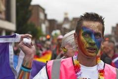 χρωματισμένη goers υπερηφάνεια φεστιβάλ προσώπου του Έξετερ Στοκ Φωτογραφία