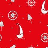 Χρωματισμένη sailboats πυξίδων διανυσματική απεικόνιση σχεδίων παιδιών αστεριών άνευ ραφής ελεύθερη απεικόνιση δικαιώματος