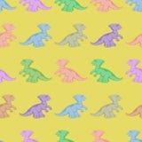 Χρωματισμένοι δεινόσαυροι Άνευ ραφής ανασκόπηση Στοκ Εικόνες