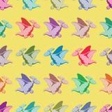 Χρωματισμένοι δεινόσαυροι πρότυπο άνευ ραφής Στοκ Φωτογραφία