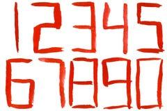 Χρωματισμένοι κόκκινοι αριθμοί watercolor Στοκ Εικόνα
