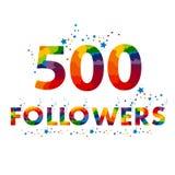 500 χρωματισμένοι οπαδοί αριθμοί 500 ακολουθούν τον αριθμό διανυσματική απεικόνιση
