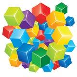 Χρωματισμένοι περίληψη κύβοι Στοκ Φωτογραφίες