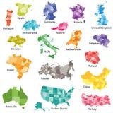 χρωματισμένοι περιφερειακοί χάρτες χωρών Στοκ φωτογραφία με δικαίωμα ελεύθερης χρήσης