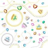 Χρωματισμένοι πολύτιμοι λίθοι της διαφορετικής περικοπής Χρυσές και ασημένιες αλυσίδες με τα διαμάντια των διαφορετικών περικοπών απεικόνιση αποθεμάτων