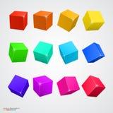 Χρωματισμένοι σύνολο κύβοι Στοκ Εικόνες