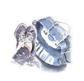 Χρωματισμένοι χέρι πάνινα παπούτσια και αθλητισμός β απεικόνισης σκίτσων watercolor διανυσματική απεικόνιση