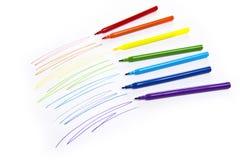Χρωματισμένοι χρώμα δείκτες σε χαρτί στοκ φωτογραφίες με δικαίωμα ελεύθερης χρήσης
