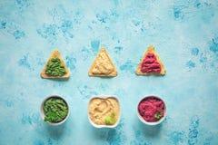 Χρωματισμένοι chickpeas πουρές και τσιπ nachos Τοπ διάστημα αντιγράφων άποψης στοκ εικόνες