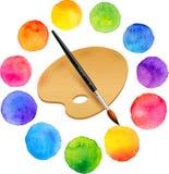 Χρωματισμένοι Watercolor κύκλοι χρωμάτων ουράνιων τόξων με Στοκ Εικόνες