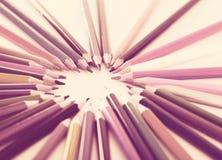 Χρωματισμένος κύκλος μολυβιών στοκ εικόνα
