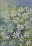 Χρωματισμένος με τα λουλούδια της Daisy χρωμάτων γκουας στους άσπρους και μπλε τόνους απεικόνιση αποθεμάτων