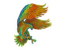 Χρωματισμένος ουράνιο τόξο λεπτομερής πετώντας αετός απεικόνιση αποθεμάτων