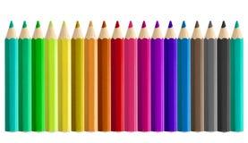 Χρωματισμένος σύνολο δίπλα-δίπλα άνευ ραφής μολυβιών που απομονώνεται Στοκ φωτογραφία με δικαίωμα ελεύθερης χρήσης