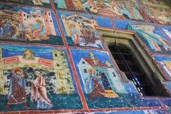 Χρωματισμένος τοίχος στο μοναστήρι Arbore, Bucovina Στοκ Φωτογραφίες