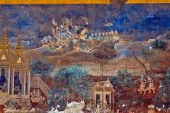 Χρωματισμένος τοίχος Royal Palace Pnom Penh, Καμπότζη Στοκ Φωτογραφία