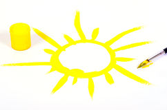 χρωματισμένος χέρι ήλιος Στοκ Εικόνα
