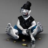 Χρωματισμένος χούλιγκαν κινούμενων σχεδίων με ένα σκίτσο χαρακτήρα πυροβόλων όπλων απεικόνιση ελεύθερη απεικόνιση δικαιώματος