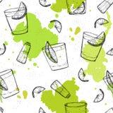 Χρωματισμένο άνευ ραφής διανυσματικό σχέδιο των πυροβολισμών tequila με τους παφλασμούς ο Στοκ Φωτογραφία