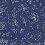 Χρωματισμένο άνευ ραφής σχέδιο με τα τριαντάφυλλα διανυσματική απεικόνιση