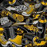 Χρωματισμένο άνευ ραφής σχέδιο με την τέχνη γκράφιτι doodle διανυσματική απεικόνιση