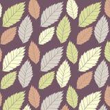 Χρωματισμένο άνευ ραφής σχέδιο στο θέμα φύλλων Φθινόπωρο Στοκ εικόνες με δικαίωμα ελεύθερης χρήσης