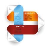 Χρωματισμένο έγγραφο γραμμών βελών ζωνών Infographic παραδείγματα Στοκ Φωτογραφία