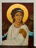Χρωματισμένο έργο τέχνης - αφηρημένος Άγιος στον καμβά Στοκ Φωτογραφία