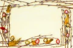 χρωματισμένο ανασκόπηση Πάσχας αυγών eps8 διάνυσμα τουλιπών μορφής κόκκινο Σύνορα του κλάδου ιτιών και των χρωματισμένων αυγών ορ Στοκ Φωτογραφίες