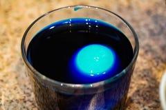 Χρωματισμένο αυγό για Πάσχα, διαδικασία, μπλε νερό στοκ φωτογραφίες με δικαίωμα ελεύθερης χρήσης