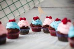 Χρωματισμένο γλυκό Cupcakes Στοκ Εικόνα