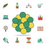 χρωματισμένο εικονίδιο μορίων Λεπτομερές σύνολο χρωματισμένων εικονιδίων επιστήμης Γραφικό σχέδιο ασφαλίστρου Ένα από τα εικονίδι απεικόνιση αποθεμάτων