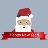 Χρωματισμένο εικονίδιο με κινούμενα σχέδια Άγιος Βασίλης και το έμβλημα καλή χρονιά απεικόνιση αποθεμάτων