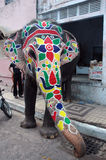 χρωματισμένο ελέφαντας rathyatra του Ahmedabad στοκ εικόνες