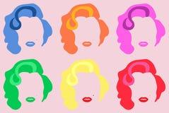 Χρωματισμένο η Μέριλιν Μονρόε διανυσματικό ύφος Andy Warhol τέχνης απεικόνισης λαϊκό στοκ εικόνες