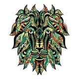 Χρωματισμένο διακοσμητικό κεφάλι λιονταριών δερματοστιξιών Τυποποιημένο πρόσωπο λιονταριών Zentangle Στοκ Φωτογραφία