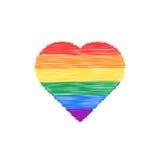 Χρωματισμένο κακογραφία εικονίδιο καρδιών Στοκ Φωτογραφία