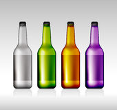 Χρωματισμένο κενό μπουκάλι μπύρας γυαλιού για το νέο σχέδιο Στοκ Εικόνες