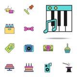 χρωματισμένο κλειδιά εικονίδιο πιάνων Καθολικό εικονιδίων γενεθλίων που τίθεται για τον Ιστό και κινητό απεικόνιση αποθεμάτων