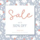 Χρωματισμένο κρητιδογραφία συρμένο χέρι θηλυκό Floral τετραγωνικό έμβλημα πώλησης Αγγελίες ελατήριο-θερινών προωθητικές κοινωνικέ διανυσματική απεικόνιση