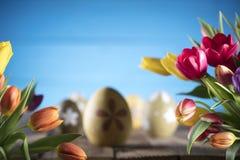 χρωματισμένο κύκλος Πάσχας διάνυσμα θέματος κειμένων αυγών eps10 διαστημικό σας Στοκ Φωτογραφία