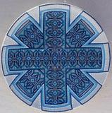 Χρωματισμένο μπλε πρότυπο σε μια κεραμική Στοκ Εικόνες