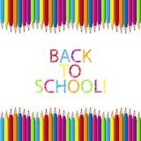 Χρωματισμένο ξύλινο πλαίσιο συνόρων μολυβιών πίσω στο σχολείο! - Διανυσματική απεικόνιση - που απομονώνεται στο άσπρο υπόβαθρο απεικόνιση αποθεμάτων