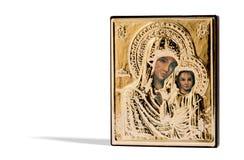 Χρωματισμένο ξύλινο θρησκευτικό εικονίδιο Στοκ εικόνα με δικαίωμα ελεύθερης χρήσης
