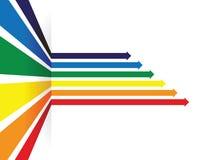 Χρωματισμένο ουράνιο τόξο υπόβαθρο προοπτικής γραμμών βελών απεικόνιση αποθεμάτων