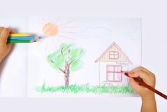χρωματισμένο παιδιά illustrati s Στοκ εικόνες με δικαίωμα ελεύθερης χρήσης
