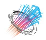 Χρωματισμένο περίληψη υπόβαθρο με τα βέλη και τους κύκλους ελεύθερη απεικόνιση δικαιώματος