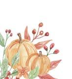 Χρωματισμένο πλαίσιο πτώσης φθινοπώρου γωνιών κολοκυθών Watercolor χέρι ελεύθερη απεικόνιση δικαιώματος