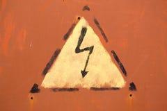 Χρωματισμένο προειδοποιητικό σημάδι ηλεκτροπληξίας Στοκ φωτογραφίες με δικαίωμα ελεύθερης χρήσης